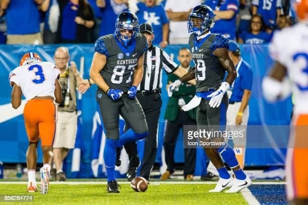 Kentucky tight end CJ Conrad reacts to his first down catch during a regular season college football game between the Florida Gators and the Kentucky...