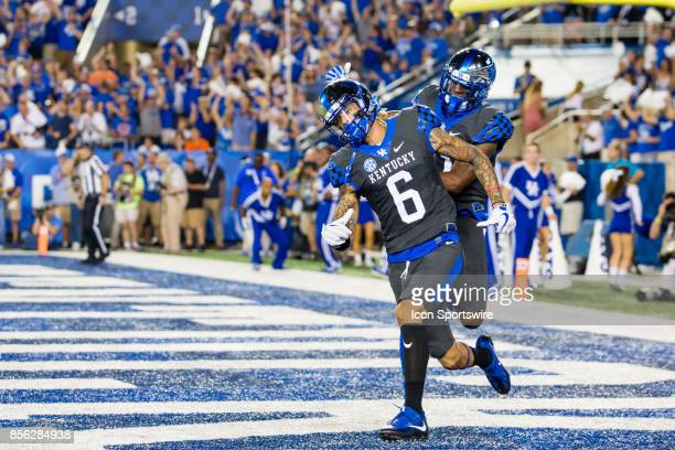 Kentucky wide receiver Blake Bone and wide receiver Tavin Richardson celebrate Kentucky's first touchdown during a regular season college football...