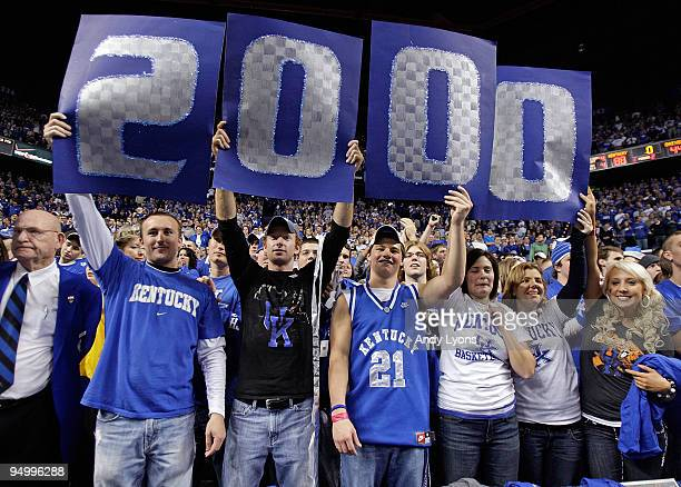 Kentucky Wildcat fans celebrates following the 8844 victory over the Drexel Dragons at Rupp Arena on December 21 2009 in Lexington Kentucky The...