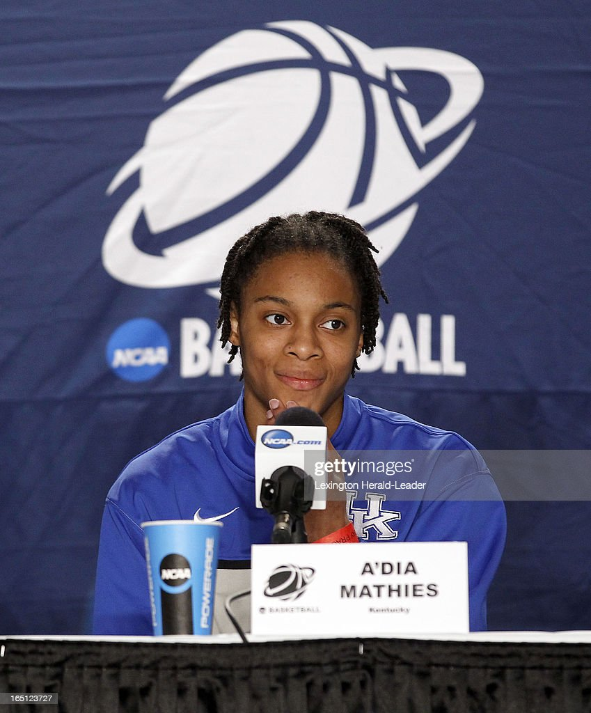 Kentucky Wildcats' A'dia Mathies speaks to the media during a press conference at Webster Bank Arena in Bridgeport Connecticut, Sunday, March 31, 2013. The Wildcats will face the University of Connecticut on Monday night in the regional finals.