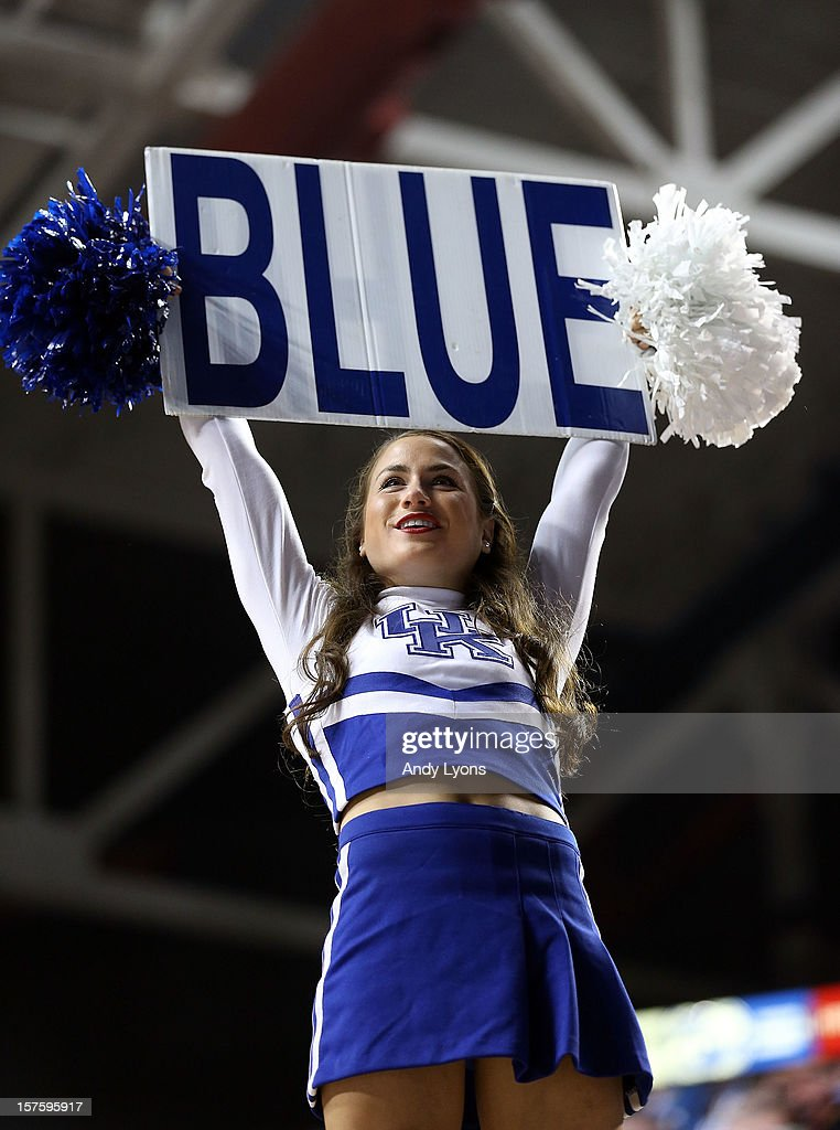 A Kentucky Wildcats cheerleader performs during the game against the Samford Bulldogs at Rupp Arena on December 4, 2012 in Lexington, Kentucky.