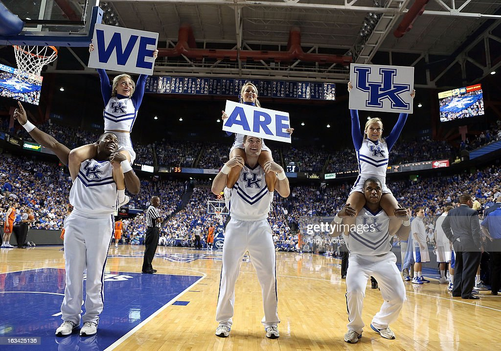 Kentucky Wildcats cheerleadesr perform during the game against the Florida Gators at Rupp Arena on March 9, 2013 in Lexington, Kentucky.