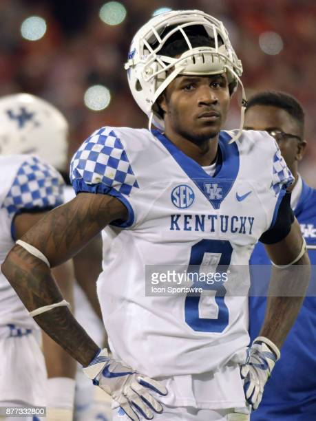 Kentucky Wildcats defensive back Derrick Baity Jr on the sidelines during the game between the Kentucky Wildcats and the Georgia Bulldogs on November...