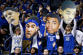 Kentucky Wildcats fans cheer against the Missouri Tigers during the game at Rupp Arena on January 13 2015 in Lexington Kentucky Kentucky defeated...