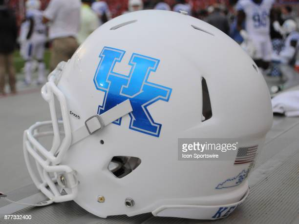 Kentucky Wildcats football helmet on the sideline during the game between the Kentucky Wildcats and the Georgia Bulldogs on November 18 at Sanford...