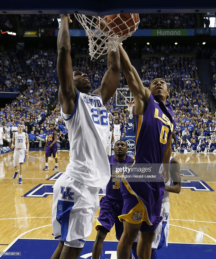 Kentucky Wildcats forward Alex Poythress (22) dunks on LSU Tigers guard Charles Carmouche (0) during game action at Rupp Arena in Lexington, Kentucky, Saturday, January 26, 2013. Kentucky defeated LSU