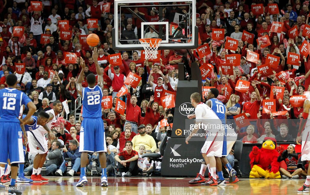 Kentucky Wildcats forward Alex Poythress (22) misses a free throw attempt in the first half against Louisville at the KFC Yum! Cente in Louisville, Kentucky, Saturday, December 29, 2012. Louisville defeated Kentucky, 80-77.