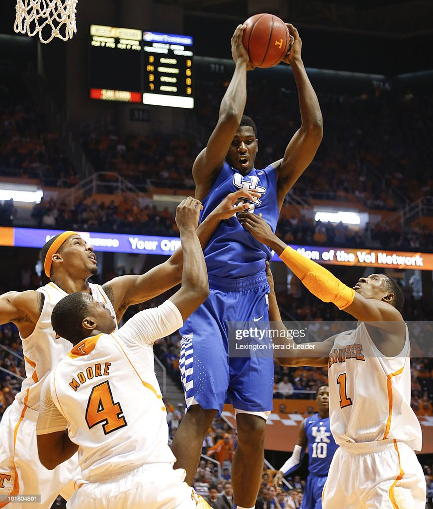 Kentucky Wildcats forward Alex Poythress (22) pulls down a rebound against Tennessee at Thompson-Boling Arena in Knoxville, Tennessee, Saturday, February 16, 2013. Tennessee defeated Kentucky, 88-58.