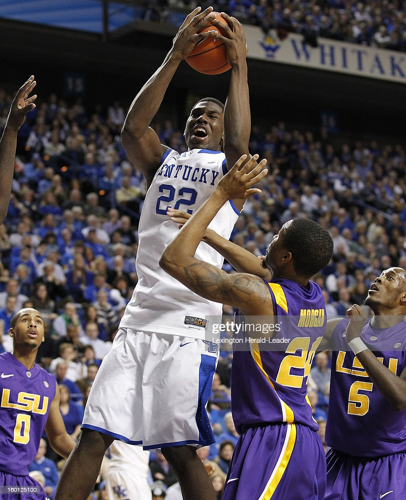 Kentucky Wildcats forward Alex Poythress (22) pulls down one of his 12 rebounds against LSU at Rupp Arena in Lexington, Kentucky, Saturday, January 26, 2013. Kentucky defeated LSU
