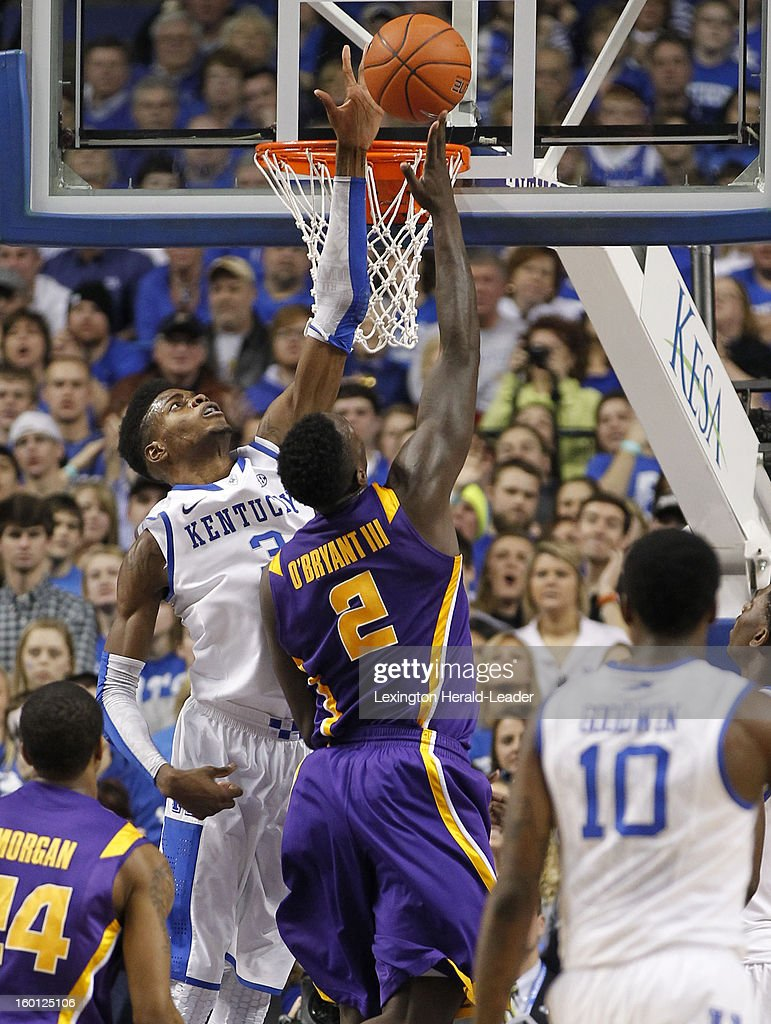 Kentucky Wildcats forward Nerlens Noel (3) blocks the shot of LSU Tigers forward Johnny O'Bryant III (2) during game action at Rupp Arena in Lexington, Kentucky, Saturday, January 26, 2013. Kentucky defeated LSU