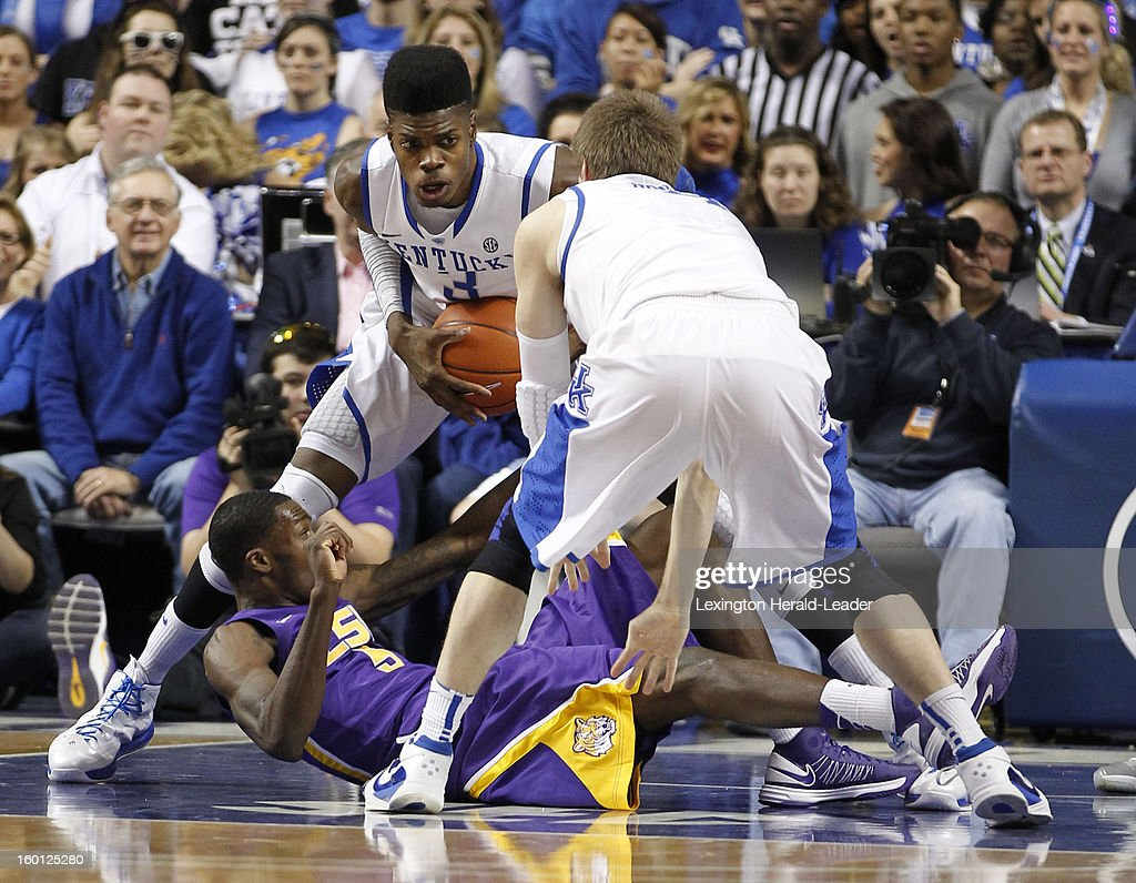 Kentucky Wildcats forward Nerlens Noel (3) pulls the ball away from LSU Tigers forward Shavon Coleman (5) during game action at Rupp Arena in Lexington, Kentucky, Saturday, January 26, 2013. Kentucky defeated LSU