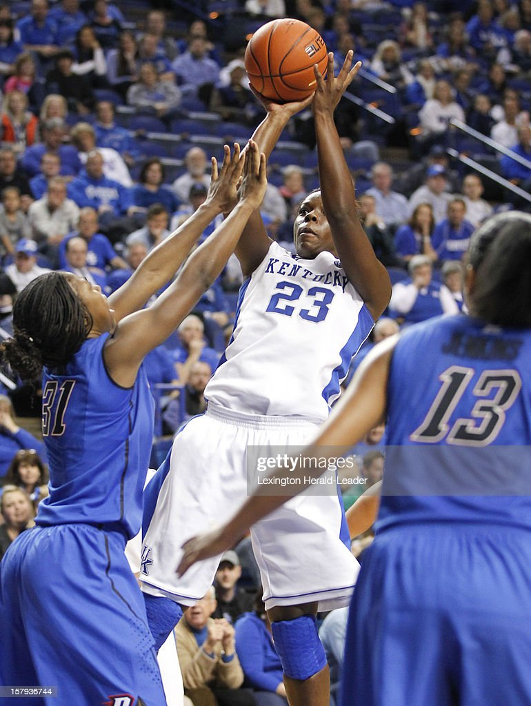 Kentucky Wildcats forward Samarie Walker (23) puts in two of her 17 points against DePaul at Rupp Arena in Lexington, Kentucky, Friday, December 7, 2012. Kentucky defeated DePaul, 96-64.