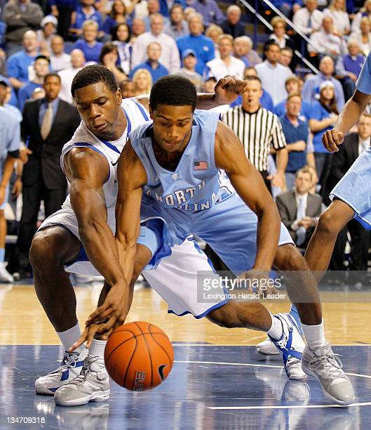 Kentucky Wildcats forward Terrence Jones left batted the ball away from North Carolina's guard Dexter Strickland in the second half The University of...