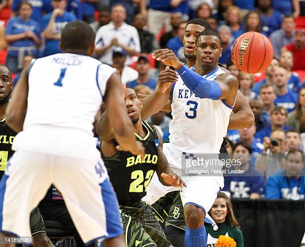 Kentucky Wildcats forward Terrence Jones outlet the ball to Kentucky Wildcats guard Darius Miller during the men's NCAA basketball tournament at the...