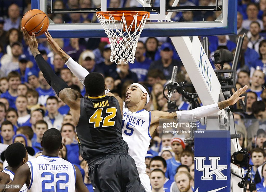 Kentucky Wildcats forward Willie Cauley-Stein (15) blocks the shot of Missouri Tigers forward Alex Oriakhi (42) in the first half at Rupp Arena in Lexington, Kentucky, Saturday, February 23, 2013.