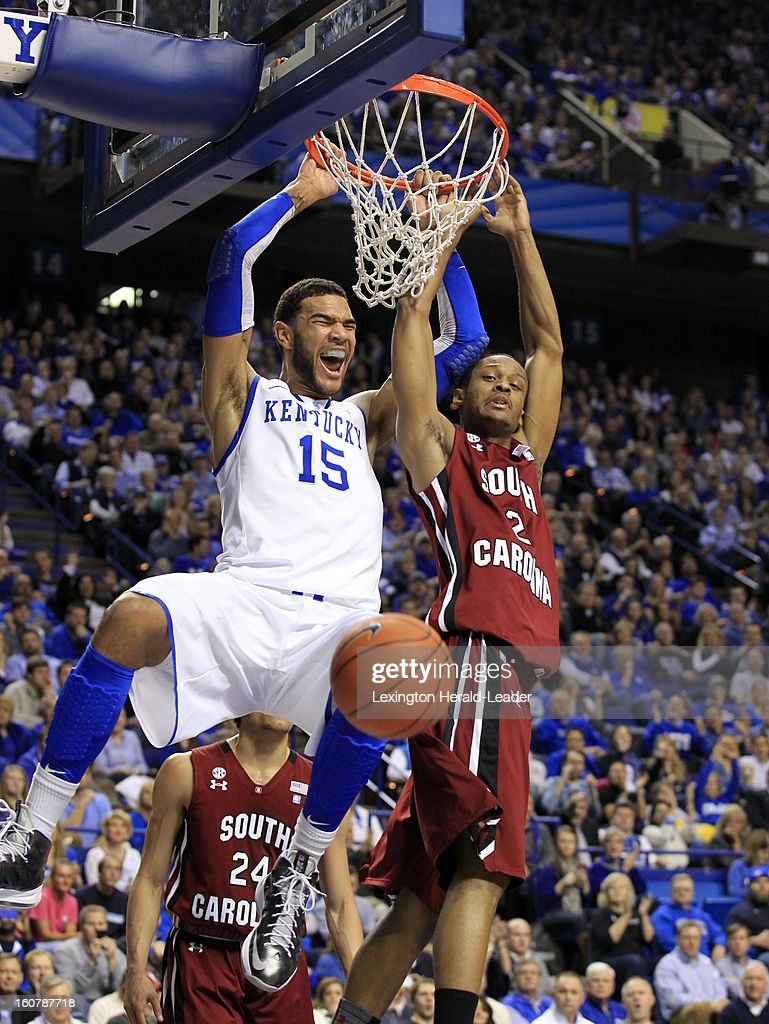 Kentucky Wildcats forward Willie Cauley-Stein (15) dunks over South Carolina Gamecocks guard Brian Richardson (2) at Rupp Arena in Lexington, Kentucky, Tuesday, February 05, 2013.