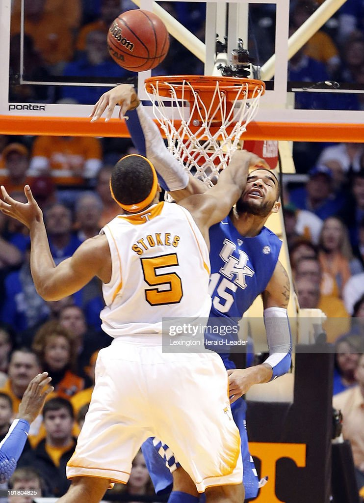 Kentucky Wildcats forward Willie Cauley-Stein (15) gets an early block on a shot by Tennessee Volunteers forward Jarnell Stokes (5) during game action at Thompson-Boling Arena in Knoxville, Tennessee, Saturday, February 16, 2013. Tennessee defeated Kentucky, 88-58.