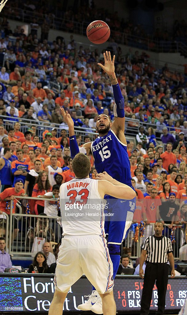 Kentucky Wildcats forward Willie Cauley-Stein (15) shoots over Florida Gators defender Erik Murphy (33) in the second half at the O'Connell Center in Gainesville, Florida, Tuesday, February 12, 2013. Florida defeated UK