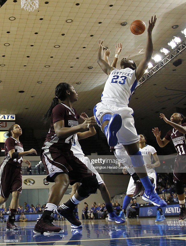Kentucky Wildcats forward/center Samarie Walker (23) was fouled as drove the lane against Mississippi State Bulldogs during a women's college basketball game at Rupp Arena on Thursday, January 17, 2013 in Lexington, Kentucky.