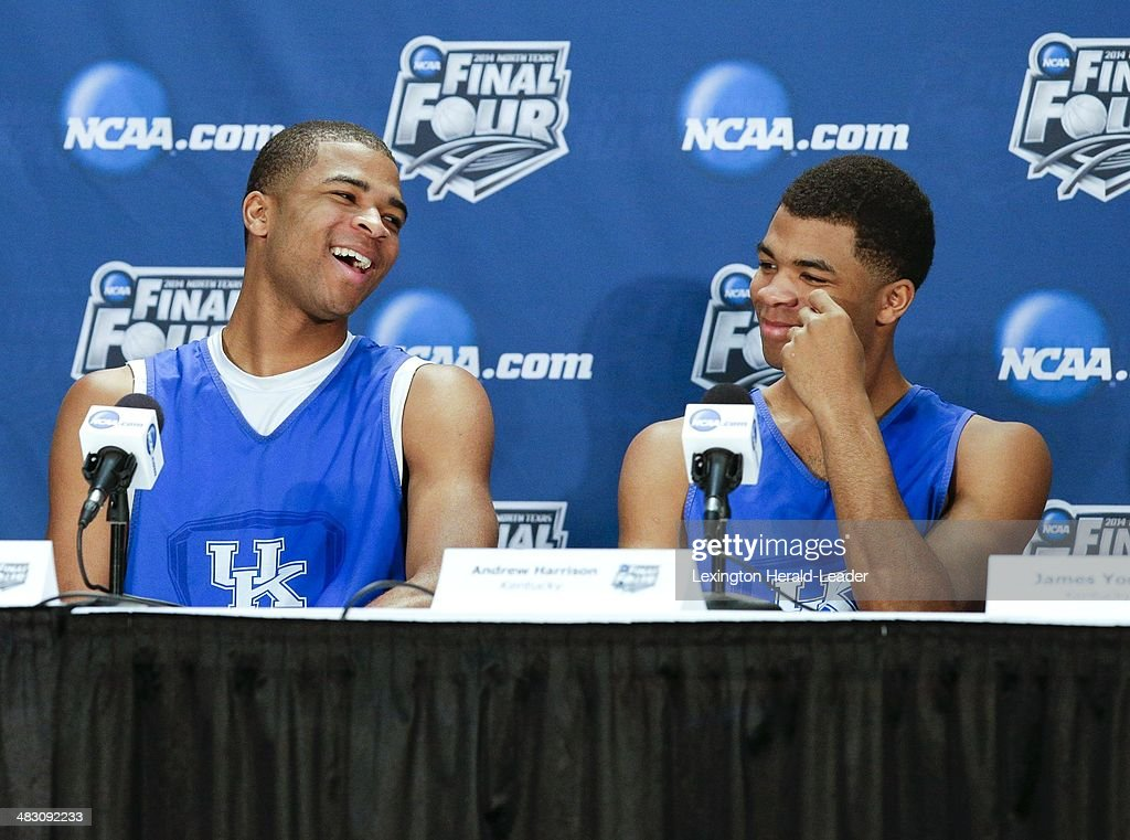 Kentucky Wildcats guard Aaron Harrison and his brother Andrew speak to the media during a news conference at ATT Stadium in Arlington Texas Sunday...