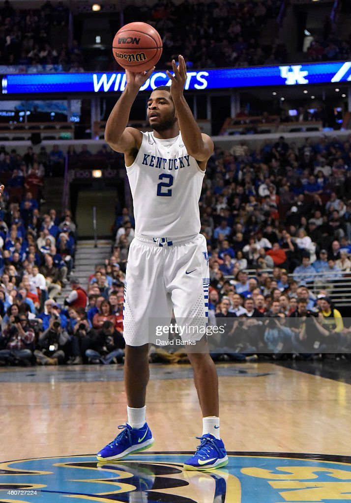 Kentucky Wildcats guard Aaron Harrison during the first half of the CBS Sports Classic on December 20 2014 at the United Center in Chicago Illinois