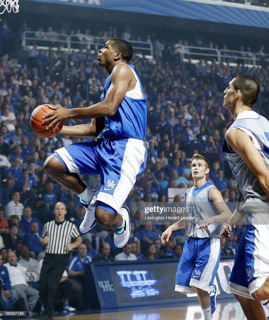 Kentucky Wildcats guard Aaron Harrison goes in for a layup during 'Big Blue Madness' in Lexington Kentucky Friday October 18 2013