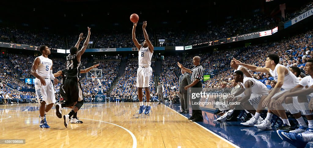 Kentucky Wildcats guard Aaron Harrison hits a 3pointer during the second half on Sunday Nov 30 at Rupp Arena in Lexington Ky