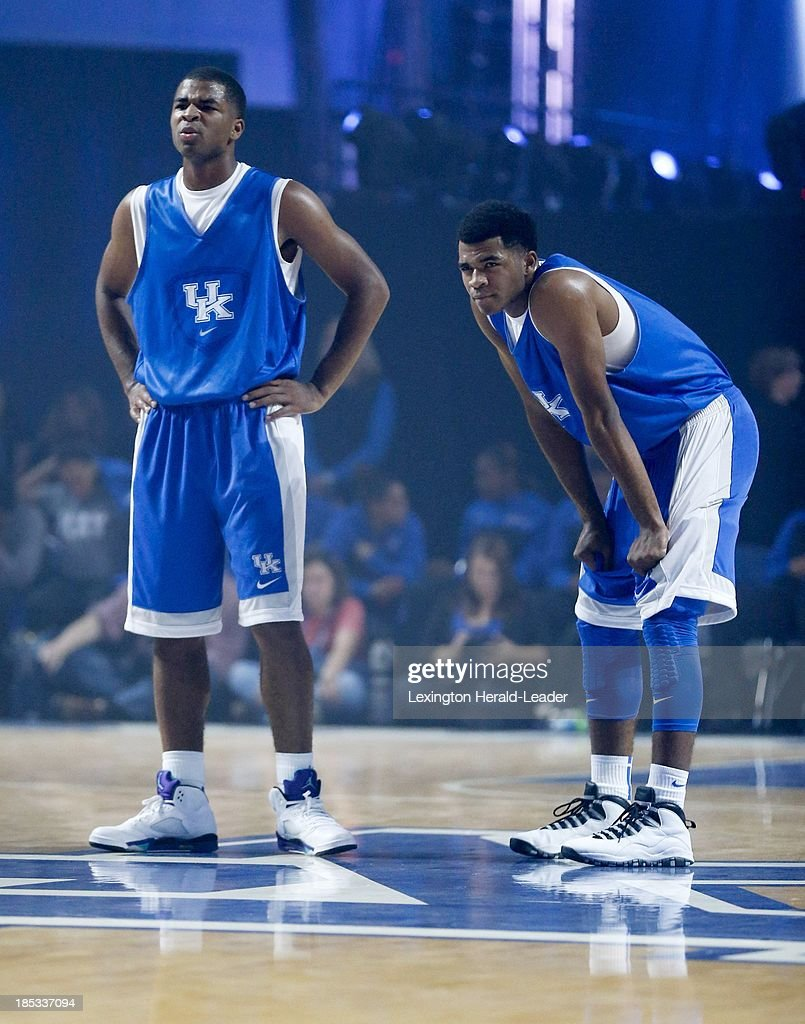 Kentucky Wildcats guard Aaron Harrison left and his brother Andrew look on during 'Big Blue Madness' in Lexington Kentucky Friday October 18 2013