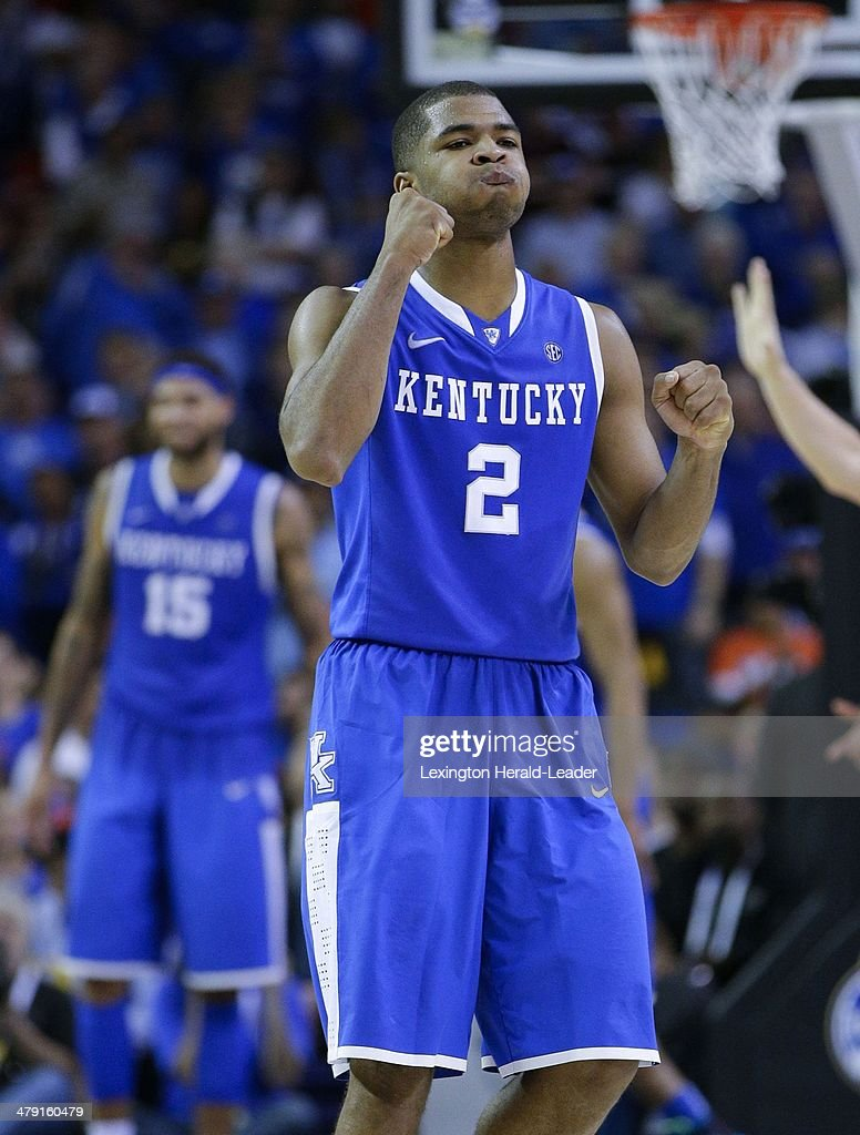 Kentucky Wildcats guard Aaron Harrison reacts to a missed opportunity in the Southeastern Conference Tournament on Sunday March 16 in Atlanta The...