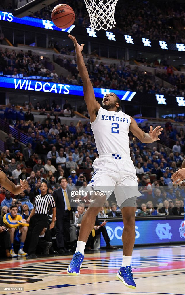 Kentucky Wildcats guard Aaron Harrison scores a basket against the UCLA Bruins during the first half of the CBS Sports Classic on December 20 2014 at...