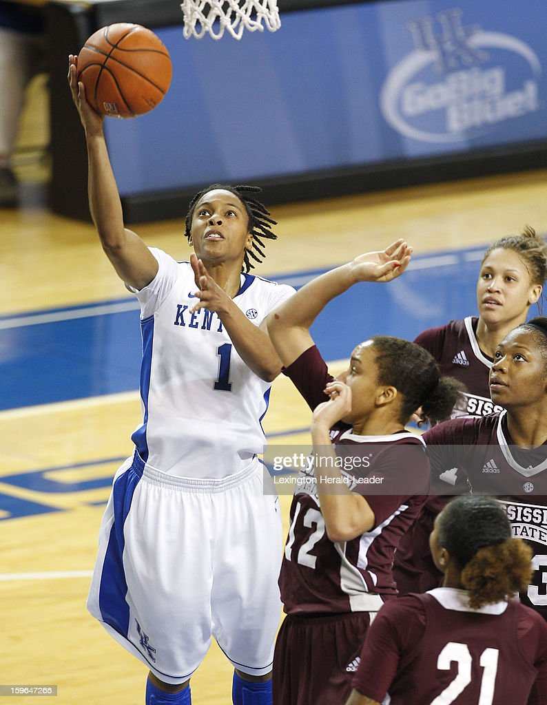 Kentucky Wildcats guard A'dia Mathies (1) puts in two of her 21 points against Mississippi State during a women's college basketball game at Rupp Arena on Thursday, January 17, 2013 in Lexington, Kentucky. Kentucky defeated Mississippi State, 100-47.