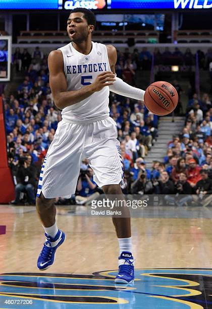 Kentucky Wildcats guard Andrew Harrison during the first half of the CBS Sports Classic on December 20 2014 at the United Center in Chicago Illinois