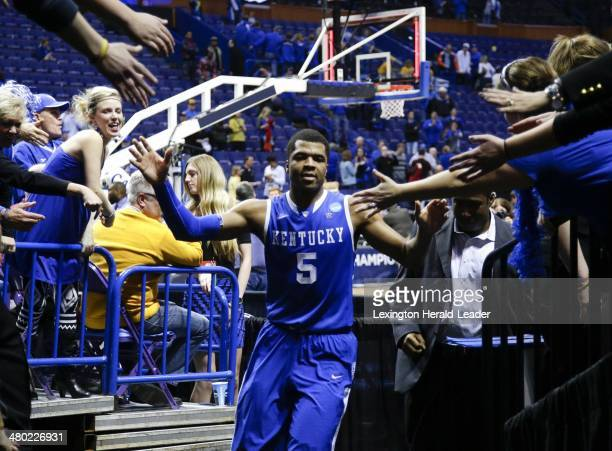 Kentucky Wildcats guard Andrew Harrison leaves the floor at the end of the game against the Wichita State Shockers during the third round of the NCAA...