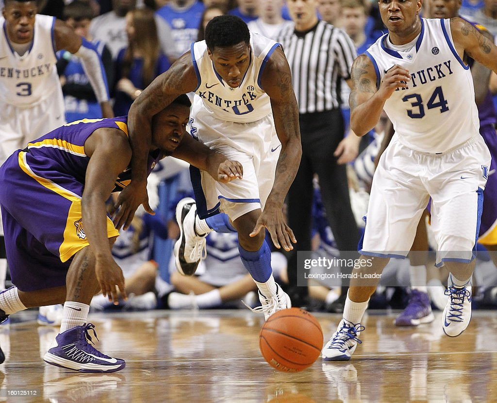 Kentucky Wildcats guard Archie Goodwin (10) steals the ball from LSU Tigers forward Shavon Coleman (5) during game action at Rupp Arena in Lexington, Kentucky, Saturday, January 26, 2013. Kentucky defeated LSU