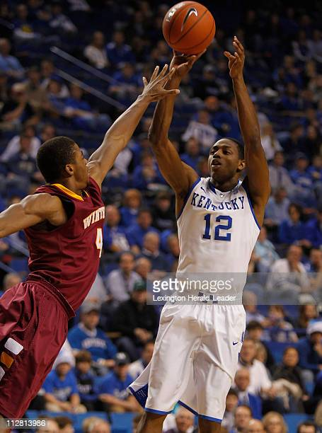 Kentucky Wildcats guard Brandon Knight shoots a jumper in the first half against the Winthrop Eagles Wednesday December 22 2010 in Lexington Kentucky...