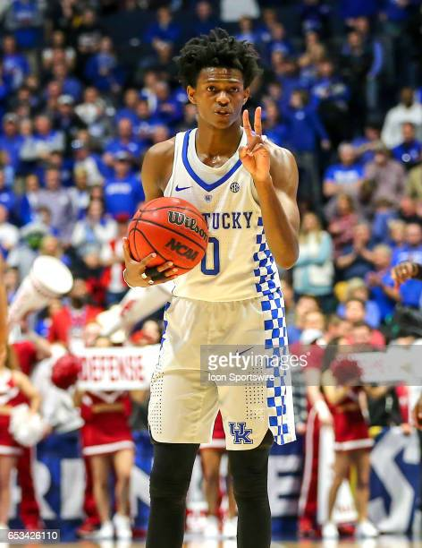 Kentucky Wildcats guard De'Aaron Fox calling a play late in the second half of the Southeastern Conference Basketball Championship Game between the...