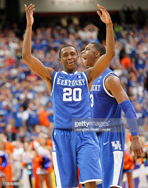 Kentucky Wildcats guard Doron Lamb and Kentucky Wildcats forward Terrence Jones celebrate the final seconds during the championship game of the SEC...