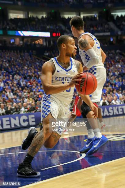 Kentucky Wildcats guard Isaiah Briscoe gets a rebound during the first half of the Southeastern Conference Basketball Championship Game between the...
