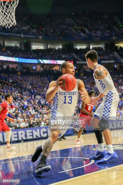 Kentucky Wildcats guard Isaiah Briscoe handles the ball during the first half of the Southeastern Conference Basketball Championship Game between the...