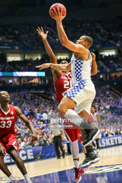 Kentucky Wildcats guard Isaiah Briscoe shoots the ball during the Southeastern Conference Basketball Championship Game between the Kentucky Wildcats...