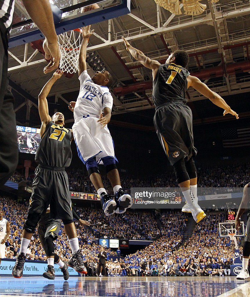 Kentucky Wildcats guard Ryan Harrow (12) goes inside for a layup against Missouri in the first half at Rupp Arena in Lexington, Kentucky, Saturday, February 23, 2013.