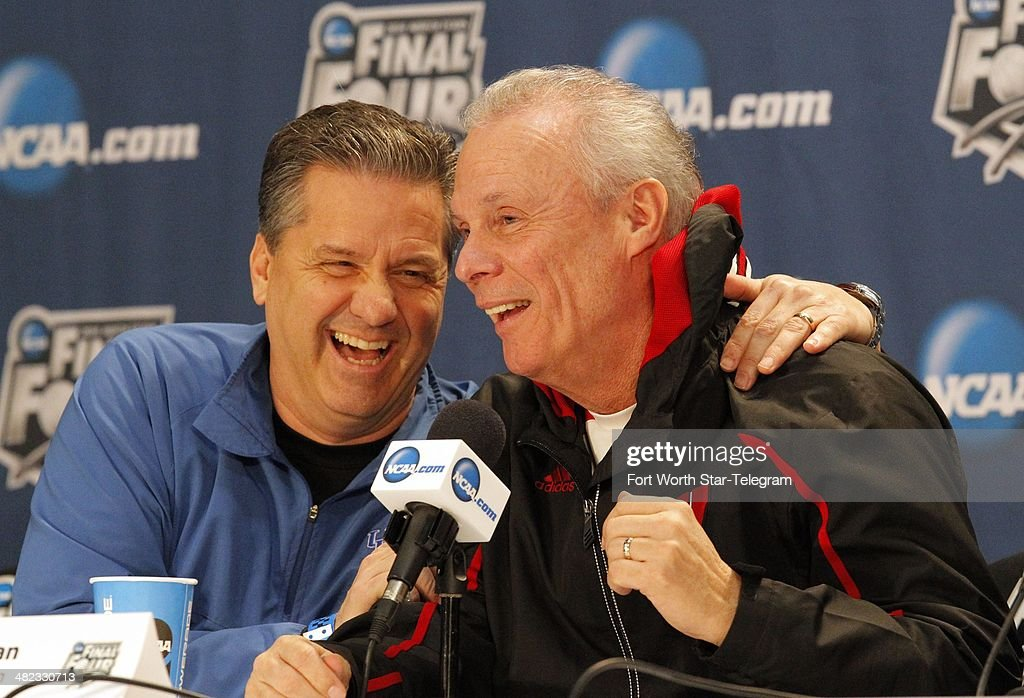 Kentucky Wildcats head coach John Calipari and Wisconsin Badgers head coach Bo Ryan share a laugh Thursday April 3 2014 at a press conference in ATT...