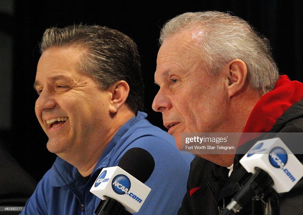 Kentucky Wildcats head coach John Calipari and Wisconsin Badgers head coach Bo Ryan attend a press conference at ATT Stadium Thursday April 3 2014 in...