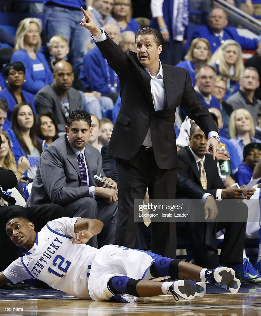 Kentucky Wildcats head coach John Calipari calls for a possession on a loose ball during the game against Missouri at Rupp Arena in Lexington, Kentucky, Saturday, February 23, 2013.