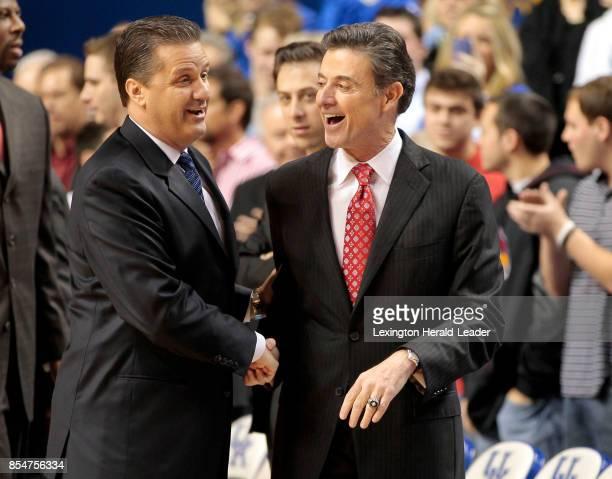 Kentucky Wildcats head coach John Calipari left greets Louisville Cardinals head coach Rick Pitino before the game at Rupp Arena in Lexington...