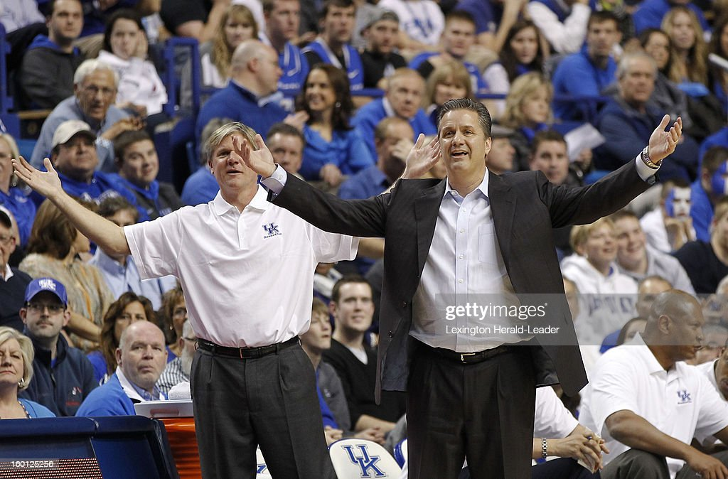 Kentucky Wildcats head coach John Calipari right, and assistant coach John Robic, want a call from the officials during the game against LSU at Rupp Arena in Lexington, Kentucky, Saturday, January 26, 2013. Kentucky defeated LSU