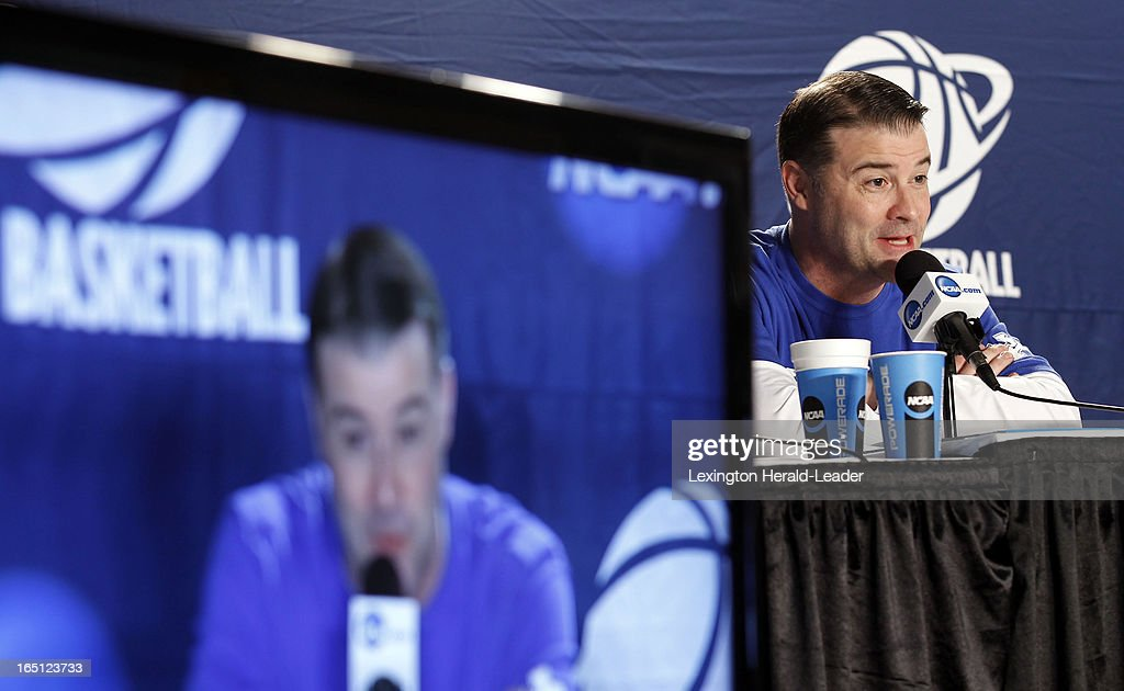 Kentucky Wildcats head coach Matthew Mitchell speaks during a press conference at Webster Bank Arena in Bridgeport Connecticut, Sunday, March 31, 2013. The Wildcats will face the University of Connecticut on Monday night in the regional finals.