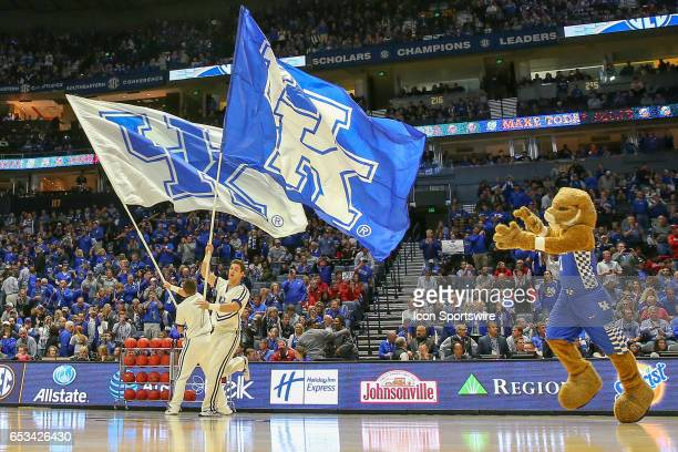 Kentucky Wildcats mascot take the court before the Southeastern Conference Basketball Championship Game between the Kentucky Wildcats and the...