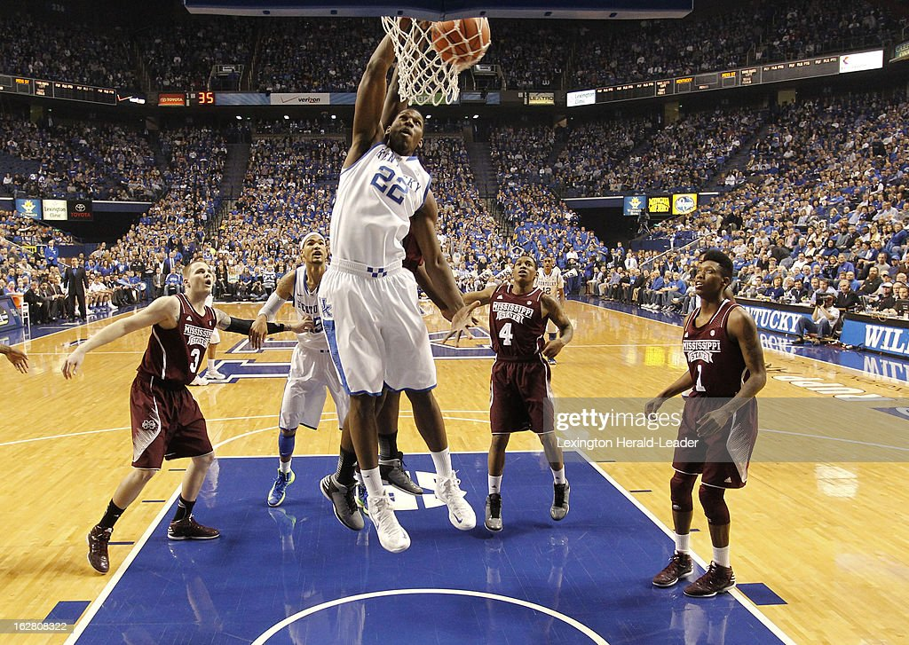 Kentucky's Alex Poythress (22) dunks in the first half against Mississippi State at Rupp Arena in Lexington, Kentucky, on Wednesday, February 27, 2013.