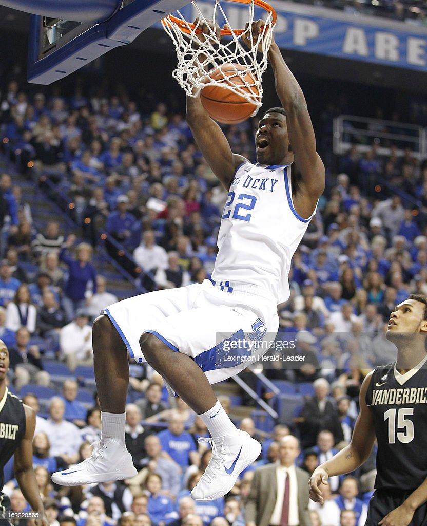 Kentucky's Alex Poythress (22) dunks in the first half as Kentucky defeated Vanderbilt, 74-70, on Wednesday, February 20, 2013, at Rupp Arena in Lexington, Kentucky.